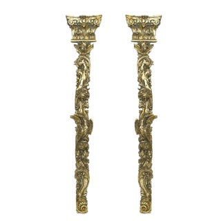 An Exquisite Pair of Carved 18th Century Silver Gilt Pilasters For Sale