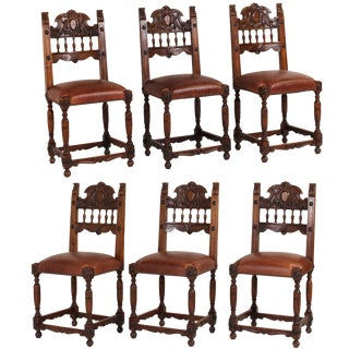 19th Century Vintage Italian Renaissance Style Walnut Dining Chairs, Set of 6 For Sale