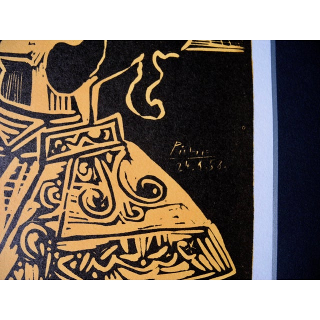 Figurative Mid-Century Expressionist Lithograph of a Woodcut by Pablo Picasso for Vallauris, 1958 For Sale - Image 3 of 9