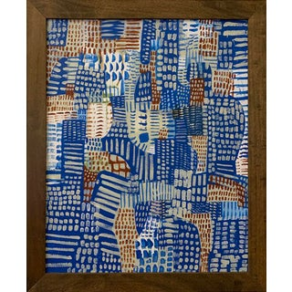 Contemporary Colorful Patchwork Style Acrylic Painting, Framed For Sale