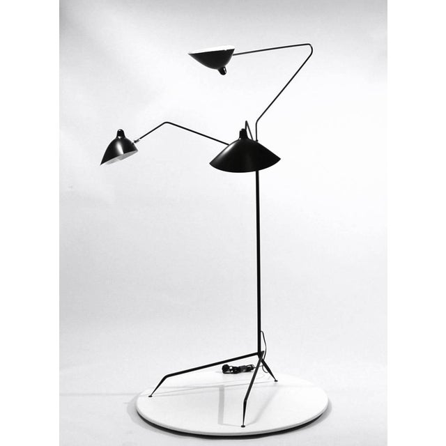 Mid-Century Modern Standing Lamp With Three Arms in Black by Serge Mouille For Sale - Image 3 of 8
