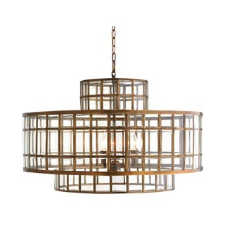 Hand-Beveled Glass Chandelier W/ Brass