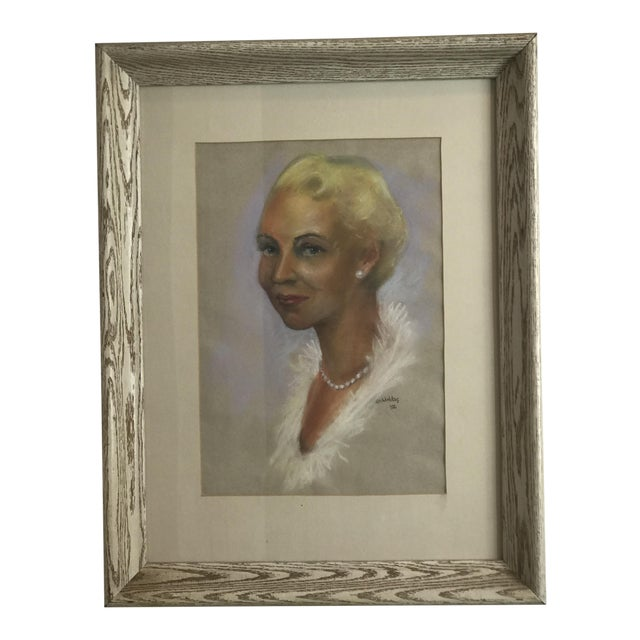 Mid-Century Portrait of Woman Wearing Pearls, Signed 1956 For Sale