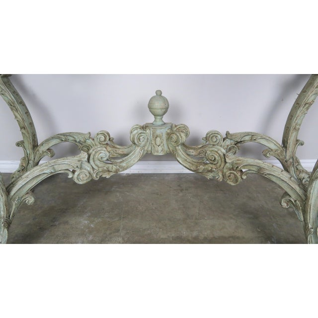 Antique White 19th Century French Rococo Style Painted Console With Carrara Marble Top For Sale - Image 8 of 13