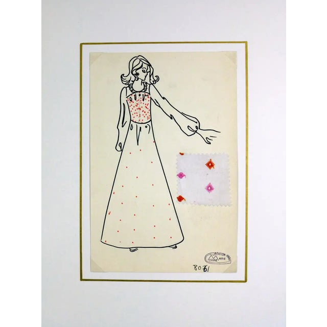 Vintage Paris Fashion Drawing - Embroidered Maxi Dress, C. 1980 For Sale - Image 4 of 7
