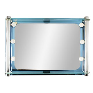 1940s Italian Mid-Century Blue Glass Arte Wall Mirror For Sale