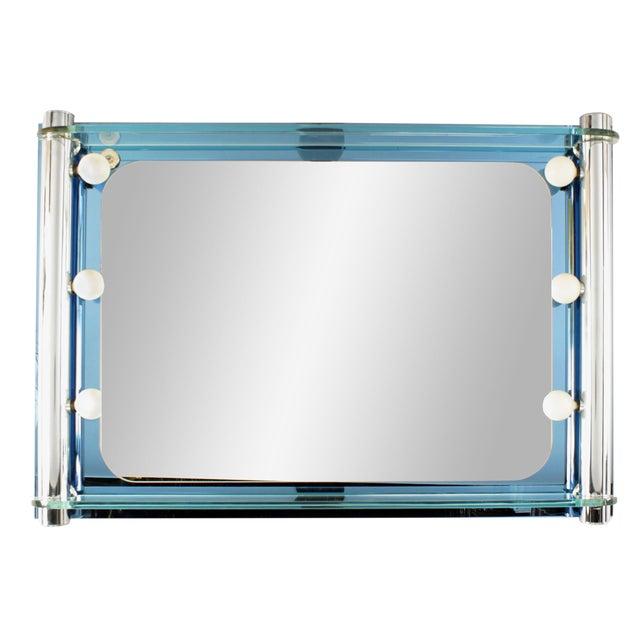 1940s Italian Mid-Century Blue Glass Arte Wall Mirror For Sale