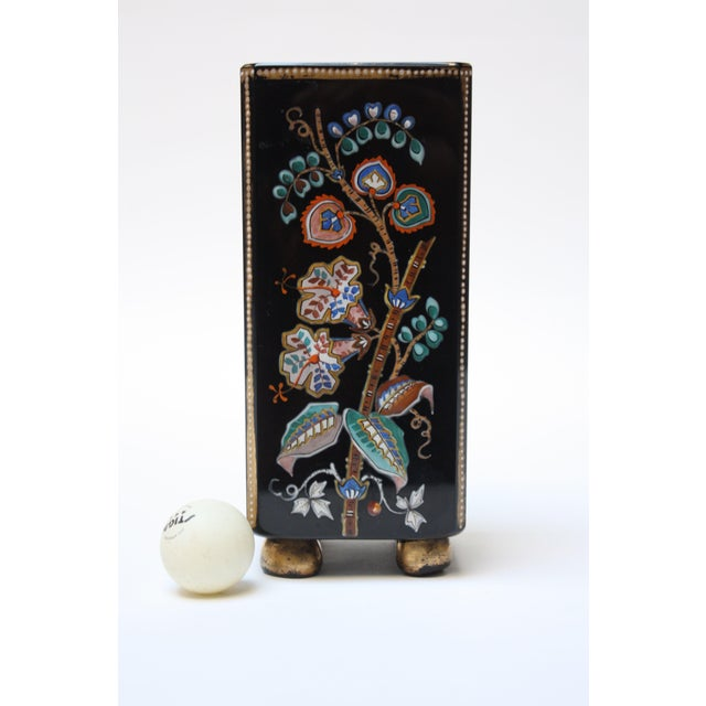 1970s Chinoiserie Style Ebony Rectangular Ceramic Vase With Floral Decoration For Sale - Image 5 of 8
