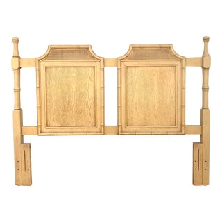 Vintage Chinoiserie Faux Bois and Bamboo Caned Pagoda Queen Headboard For Sale