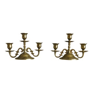 Vintage Brass Candlestick Holders - a Pair For Sale