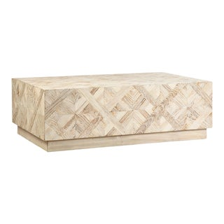 White Wash Elm Parquet Coffee Table For Sale