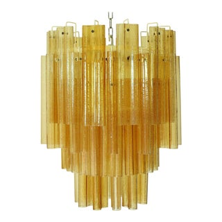 Mid 20th Century Venini Hand Blown Amber Murano Glass Tubes Chandelier For Sale