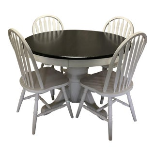 Elegant Pedestal Dining Table and Chairs - 5 Piece Set