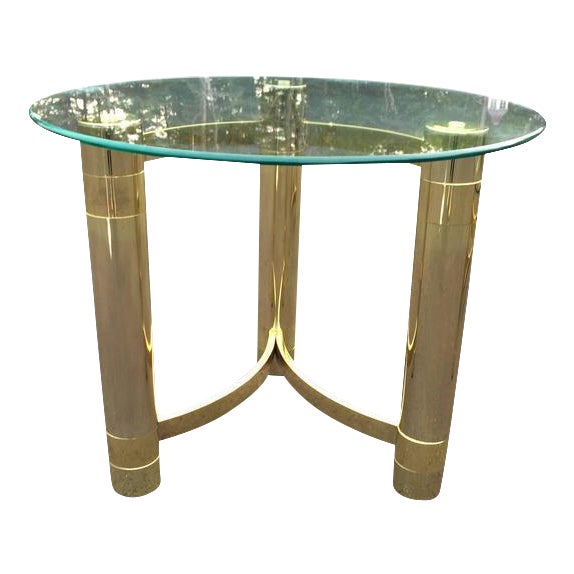 SOLD-1980s Hollywood Regency Brass & Glass Side Table For Sale - Image 10 of 10