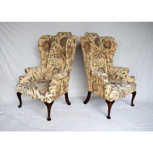 English Queen Anne Style High Back Library Wingchair, Circa 1910 For Sale - Image 13 of 13