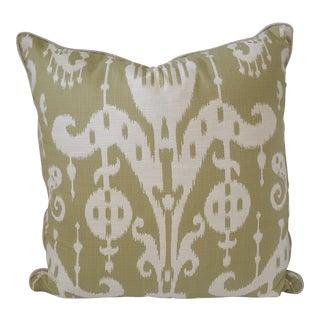 Custom Lemon Grass Green Ikat Patterened Pillow Cover