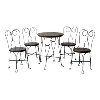 Antique Ice Cream Parlor Table and Chair Set of 5 For Sale