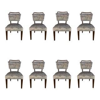 Drexel Heritage Modern Gray Velvet Dining Chairs- Set of 8 For Sale