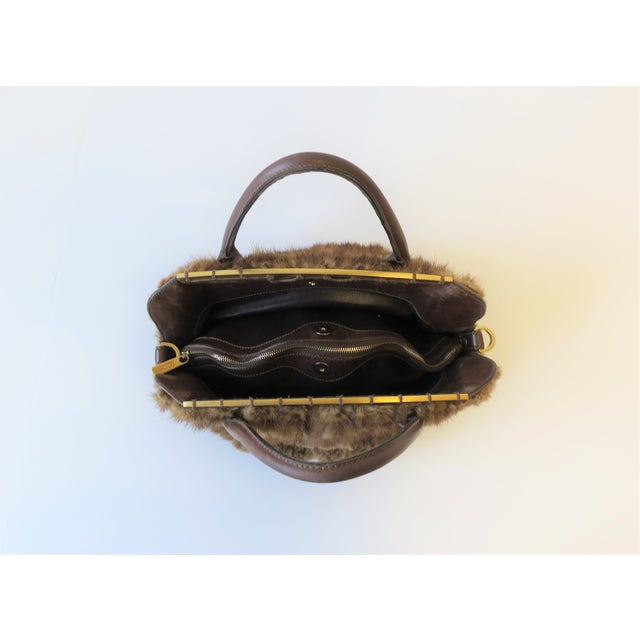 Early 21st Century Tod's Brown Leather, Mink and Brass Handbag For Sale - Image 5 of 13
