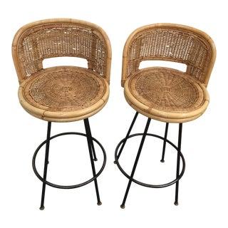Mid-Century Arthur Umanoff Style Barstools - a Pair For Sale