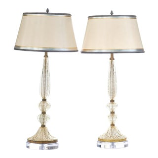Vintage Italian Gold Murano Lamps - a Pair For Sale