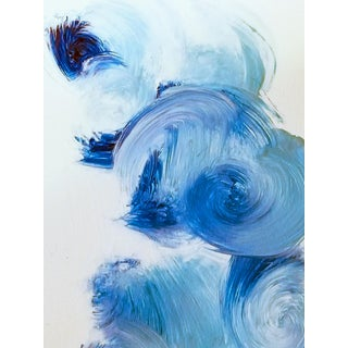 """Modern Abstract Expressionist """"Blue Zest"""" White Blue Circles Print For Sale"""