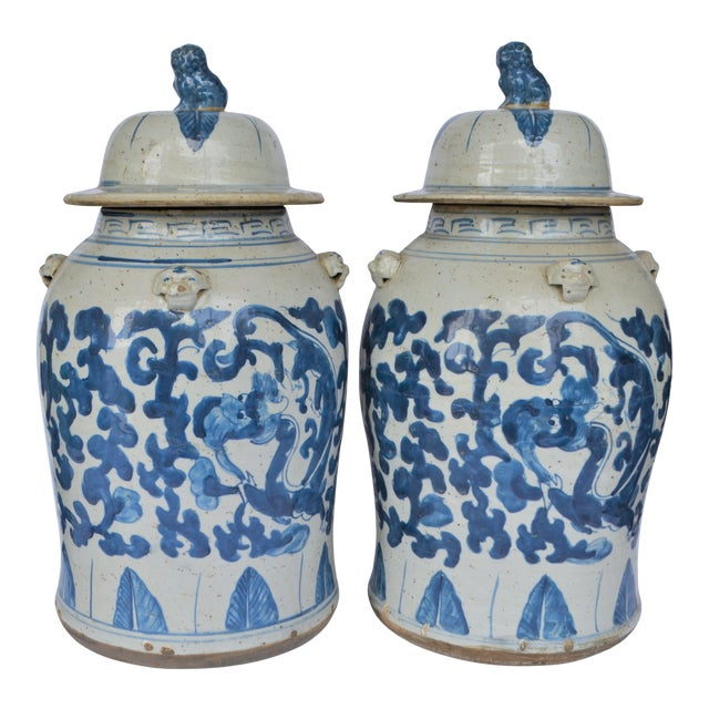 Chinoiserie Blue and White Scroll and Leaf Ginger Jars, a Pair For Sale
