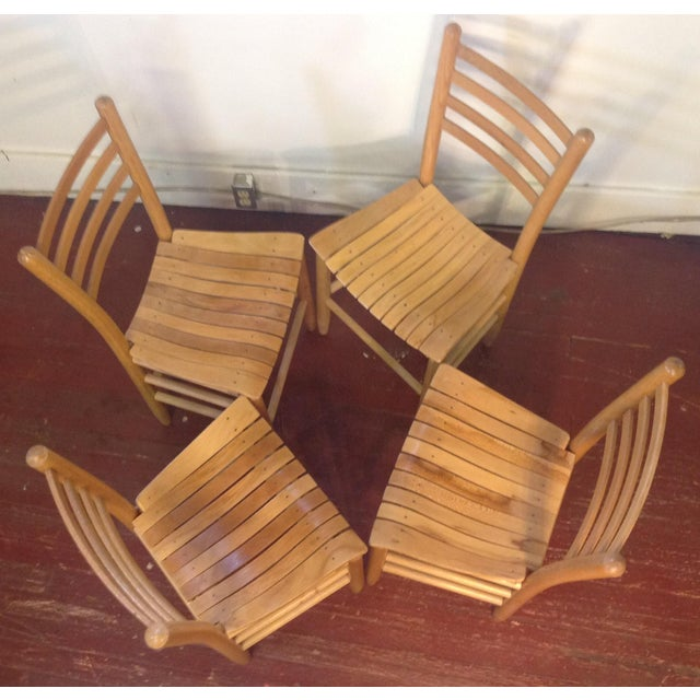 Vintage Sparrow Slat Ladder Back Chairs - Set of 4 - Image 3 of 9