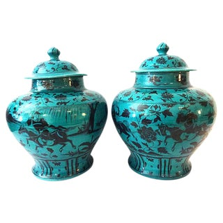 LG Yuan-Style Hunters Ginger Jars - A Pair For Sale