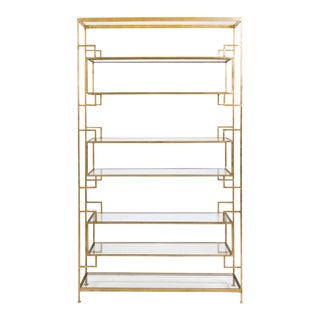 Worlds Away Lamar Gold Leafed with Glass Shelving Etagere Bookcase