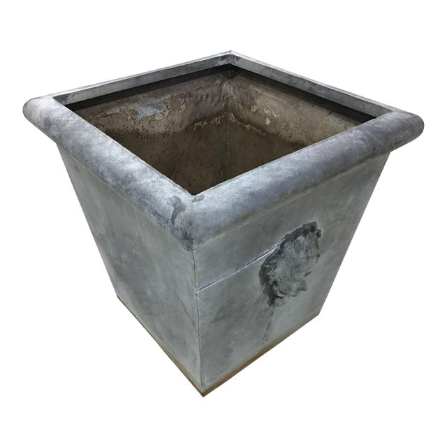 Large Vintage Neoclassic Style Metal Planter For Sale