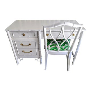 Thomasville Vintage Faux Bamboo Palm Beach Regency White High Gloss Desk W/Chair For Sale
