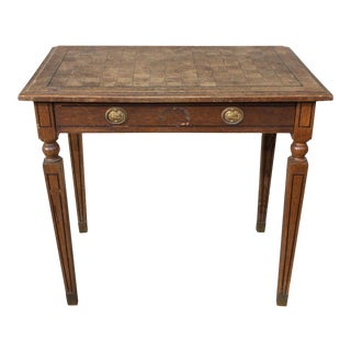 1920s French Parquet Top Desk With Drawer and Brass Details For Sale