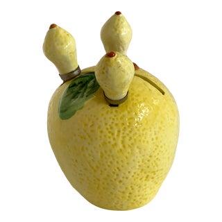 Vintage Lemon Ceramic Fruit Holder With Butter Knives For Sale