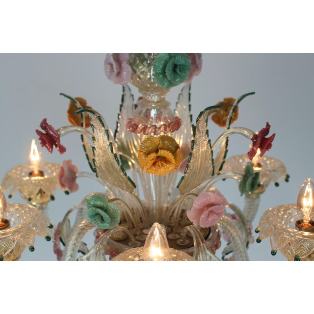 1960s Italian Venetian Glass Chandelier For Sale - Image 5 of 11