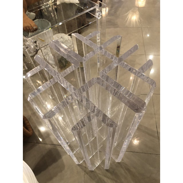 Lovely pair of vintage radiator geometric style Lucite dining table or desk bases. I have two pairs of these available....
