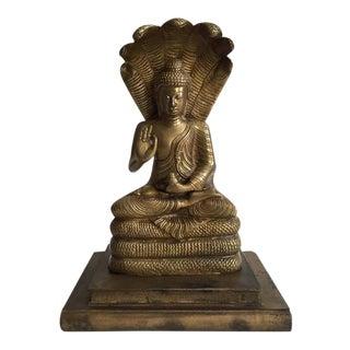 "Mid Century Modern Brass Buddha Sculpture 13"" Naga Buddha Burmese Cobra Statue For Sale"