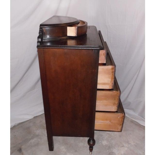 1920s antique art deco walnut dresser bureau chest of drawers demilune top image 6 of