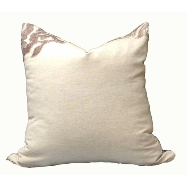 Contemporary Linen Pillows With Velvet - a Pair - Image 3 of 7