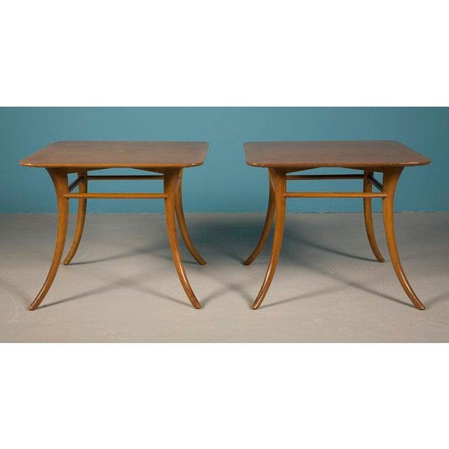 Mid-Century Modern Pair of Sabre Leg Lamp Tables by T.H. Robsjohn-Gibbings For Sale - Image 3 of 4