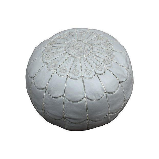 Moroccan Embroidered Silver Pouf For Sale
