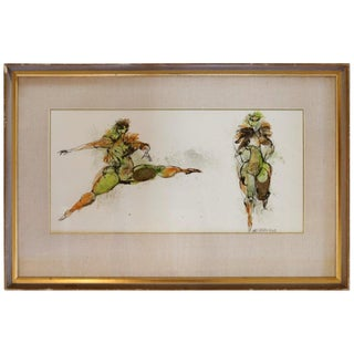 Watercolor and Ink of Dancing Figures Signed Walter Peregoy For Sale