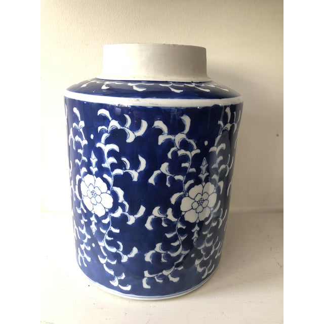 Chinoiserie Large Blue & White Jar For Sale - Image 3 of 6