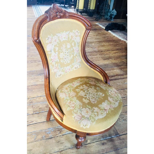1860s Renaissance Revival Needlepoint Slipper Chair For Sale In Baltimore - Image 6 of 6