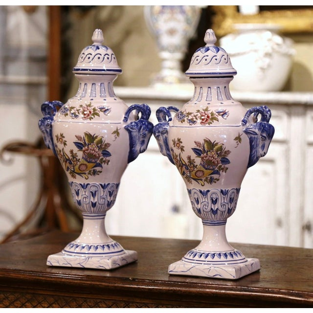 """Pair of Mid-Century French Hand Painted Faience """"Saint Clement"""" Urns With Lids For Sale - Image 13 of 13"""