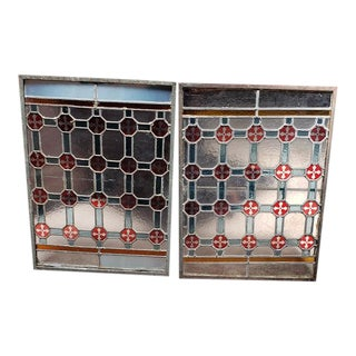 Pair of Antique Stained Glass Window Panels For Sale
