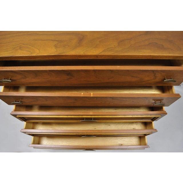 Vintage Mid-Century Modern Walnut 5 Drawer Tall Dresser Highboy For Sale - Image 9 of 11