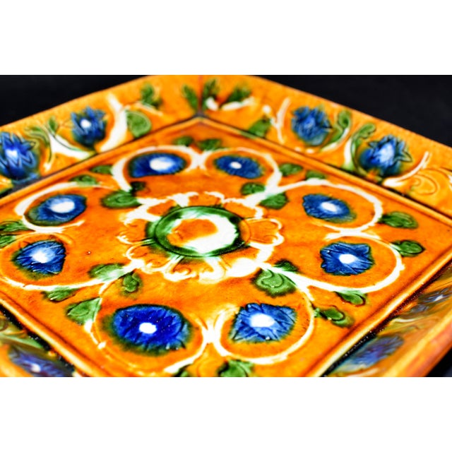Ceramic Vintage Chinese Pottery Plate Tang San Cai With Chrysanthemum For Sale - Image 7 of 12