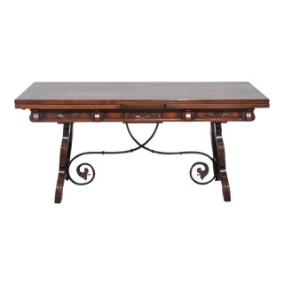 20th Century Spanish Rectory Trestle Table With Built-In Leaves For Sale