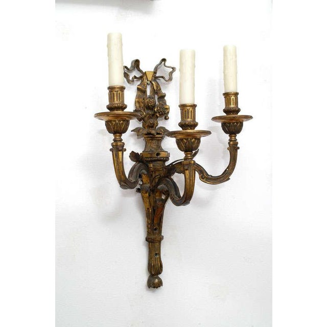 Gold Neoclassic Style Hand-Cast Bronze Three-Light Sconces, America - a Pair For Sale - Image 8 of 9